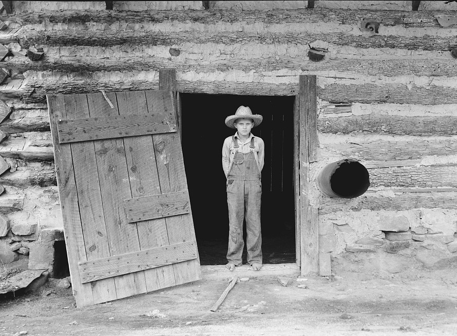 North Carolina farm boy in doorway of tobacco barn. Person County, North Carolina Dorothea Lange 1939