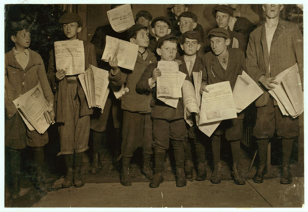 after midnight children selling papers april 17, 1912