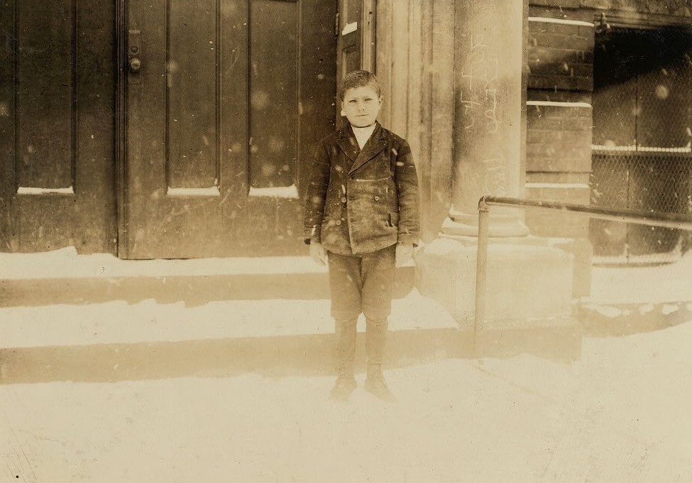 Angelo Rizzo, 5 Trenton Ave., Buffalo, N.Y. Worked 5 months in sheds of Albion Canning. Canning, stringing beans. Was 10 years old last summer. Worked from 7 A.M. until 9 P.M. Returned to school September 27th, losing 2 weeks time. School record good. Location: Buffalo, New York (State) March 1910