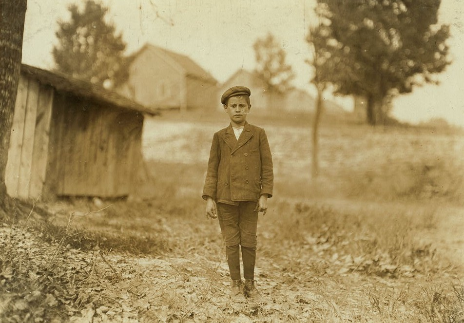 "Eugene Bell, House 48 Loray Mill. Said he was 12 years old. (question). ""Leastwise that's what mother says."" (I am convinced that many children believe they are as old as they say they are,--their parents have misstated their ages so long.) Worked most two years--sweeping. Location: Gastonia, North Carolina. Nov. 1908"