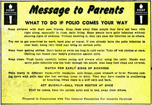 polio sign
