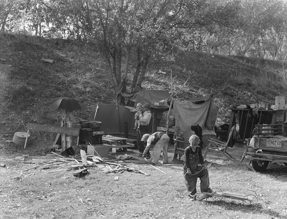 Destitute family. American River camp. Five children aged two to seventeen. Near Sacramento California