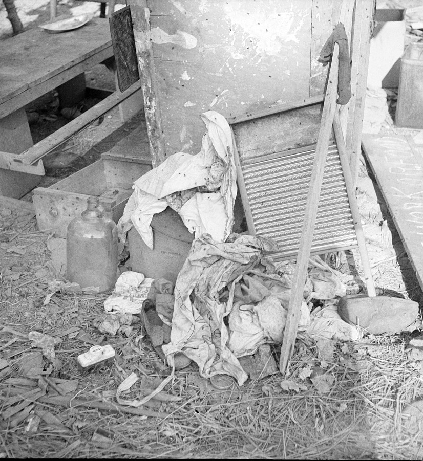 Dirty clothes and flies. American River camp, near Sacramento, California