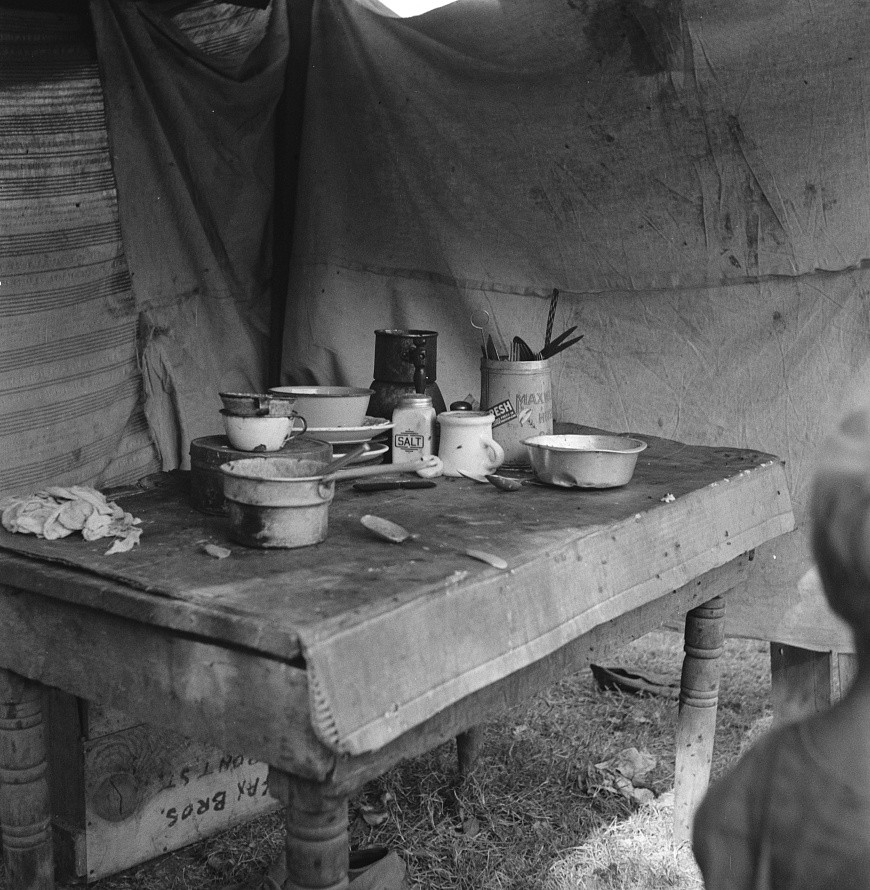 Food supply of migrant family. American River camp near Sacramento, California