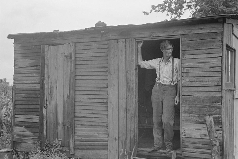 Hooverville man in doorway