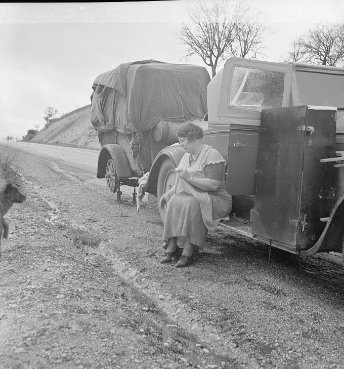 Migrant pea workers on the road All their worldly possessions in car and trailer California