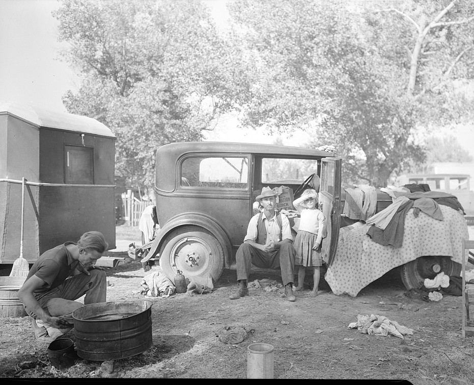 Migratory family in auto camp. California