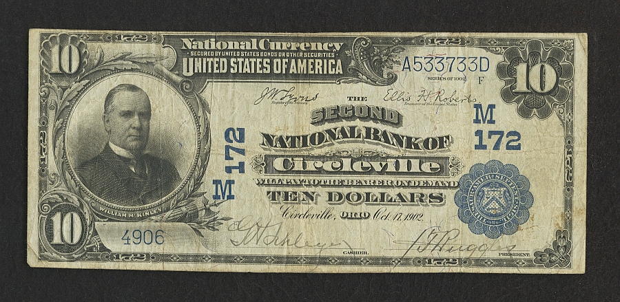 OH, Circleville, Charter 172, 1902PB $10, 4906(900)