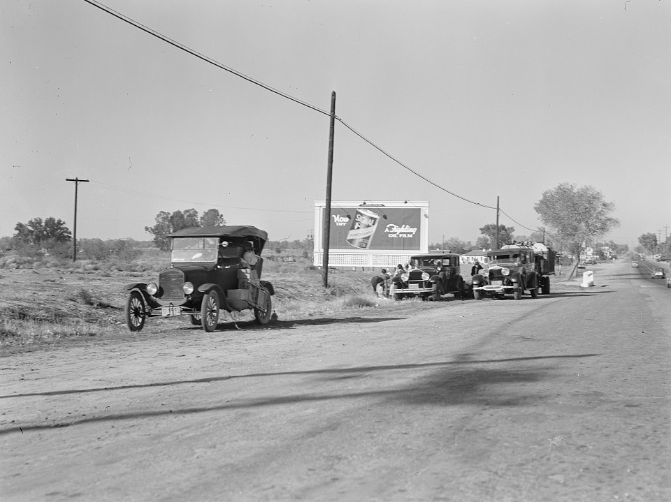 Three carloads of Mexicans headed for the Imperial Valley to harvest peas. Near Bakersfield, California