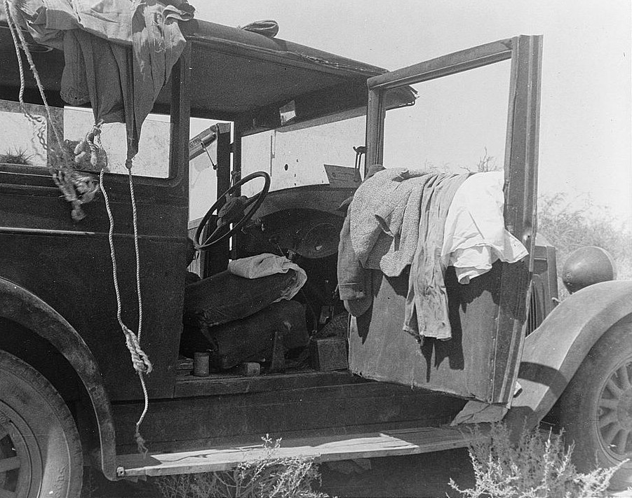 depression - only home truck with clothes