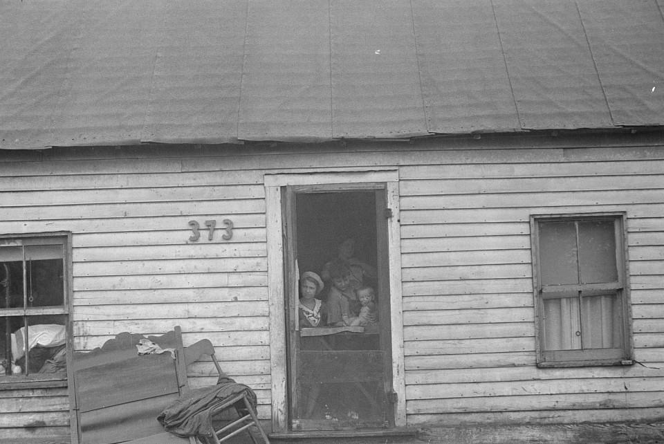 hooverville family in doorway