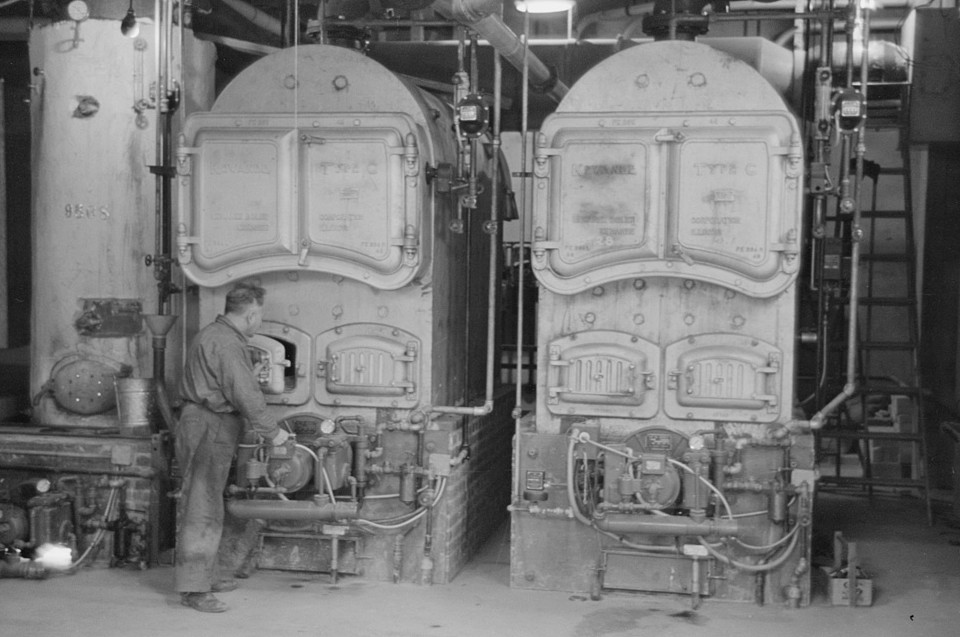 Boilers provided to heat the garment factory at Jersey Homesteads, Hightstown, New Jersey 1936 russell lee