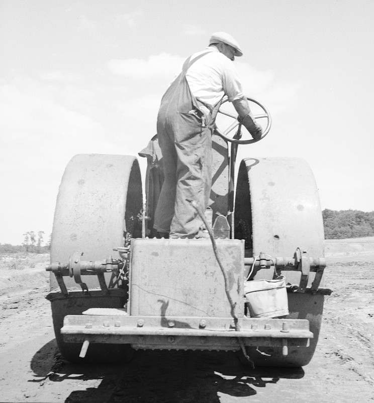 Building the road to the community factory. Hightstown, New Jersey july 1936 dorothea lange