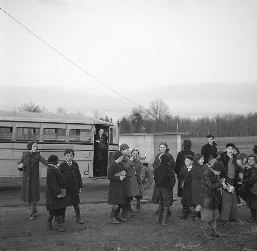 Children coming home from school. Hightstown, New Jersey dec. 1936 arthur