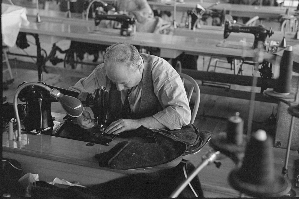 Closeup of cloak operator in cooperative garment factory at Jersey Homesteads, Hightstown, New Jersey 1936 russell lee