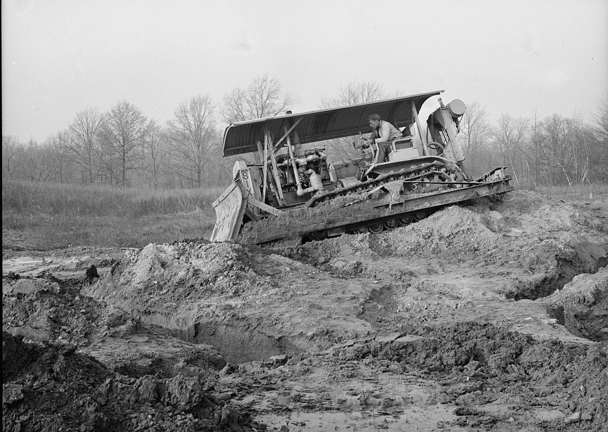 Grader at work at the Hightstown, New Jersey, project nov. 1935 carl mydans