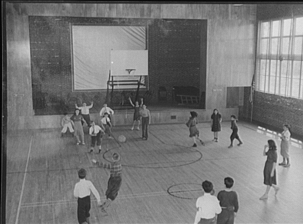 Gymnasium at the Hightstown school. New Jersey 1938 arthur rothstein