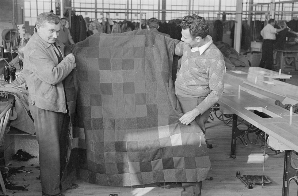 Harry Kaplan (right) showing blanket which he has made from waste scraps of cloth. Jersey Homesteads, Hightstown, New Jersey nov. 1936 russ