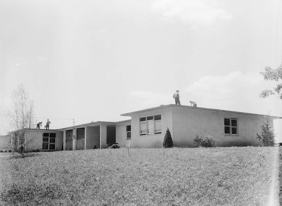 Hightstown, New Jersey. Type house for two families (incomplete). Will be ready for occupancy July, 1936 dorothea