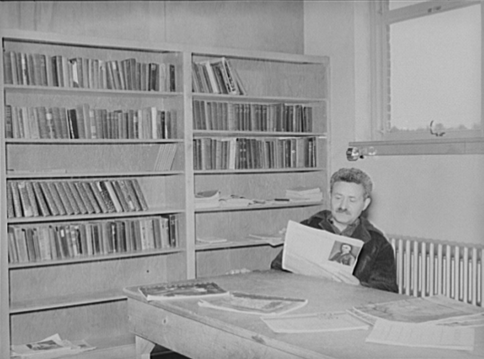 Homesteader in the library. Jersey Homesteads, Hightstown, New Jersey arthur rothstein 1938