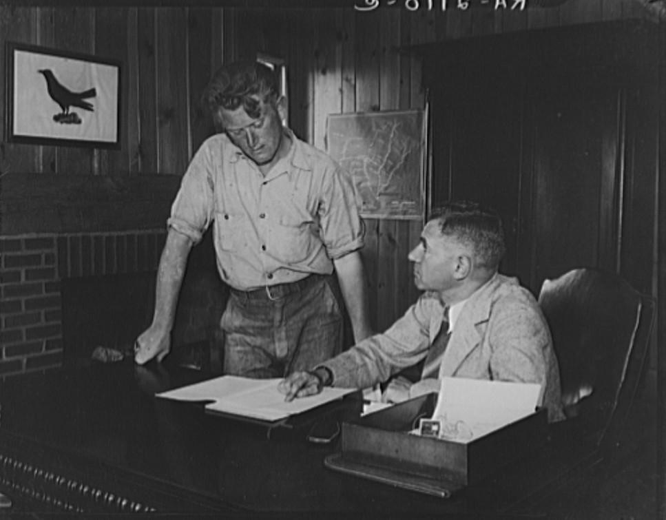 Interviewing applicant. Hightstown, New Jersey june 1936 dorothea lange
