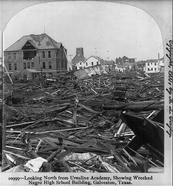 Looking North from Ursuline Academy, showing wrecked Black High School Building, Galveston, Texas
