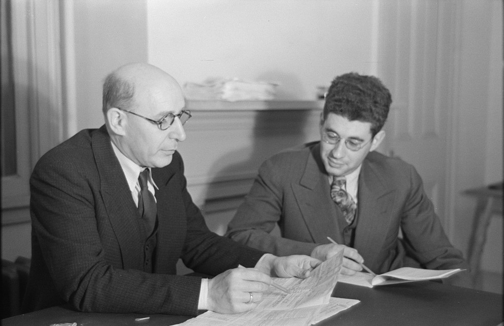 Samuel J. Finkler and his assistant, Harry Glanz. They are in charge of family selection at Jersey Homesteads, New Jersey nov. 1936 russ