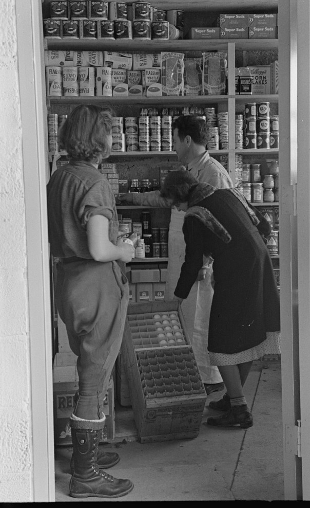 Scene in the first cooperative store in Jersey Homesteads run by Nathan Dubin, Hightstown, New Jersey nov. 1936 russell lee