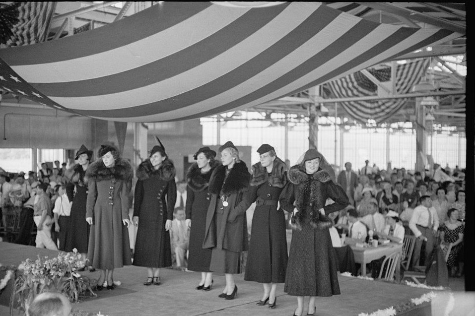 Style show of the opening of garment factory, Hightstown, New Jersey