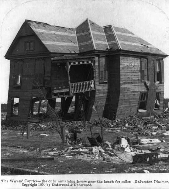 The Waves' Caprice - the only remaining house near the beach for miles - Galveston Disasater, Texas