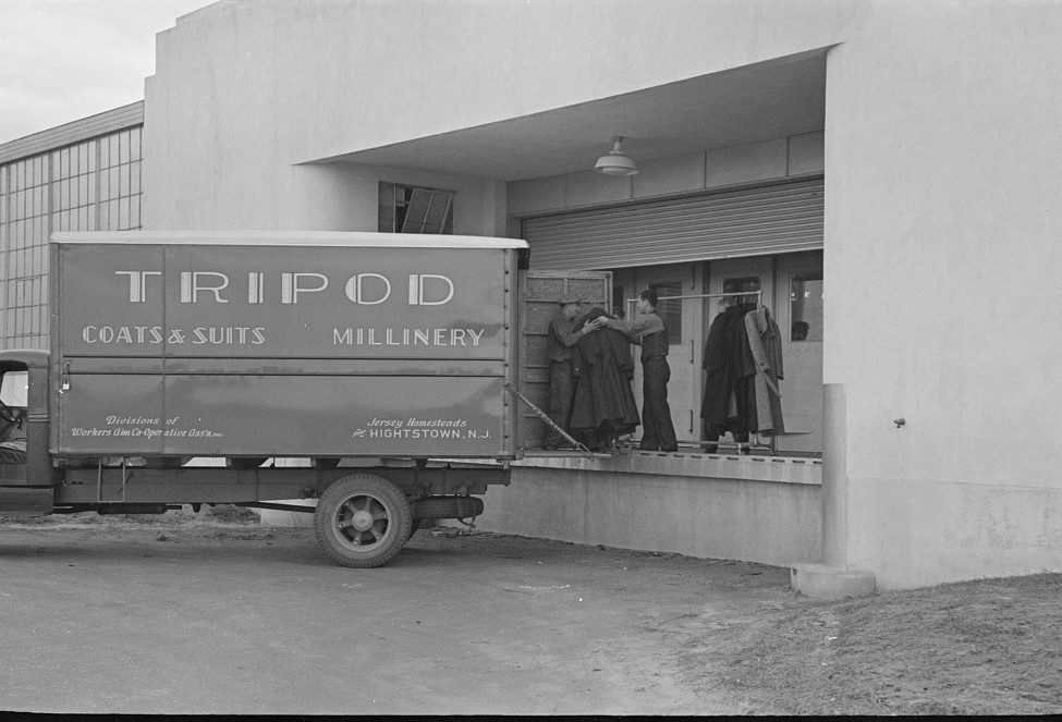 The factory has its own truck, which makes deliveries to its two rooms in New York, Jersey Homesteads nov. 1936 russ