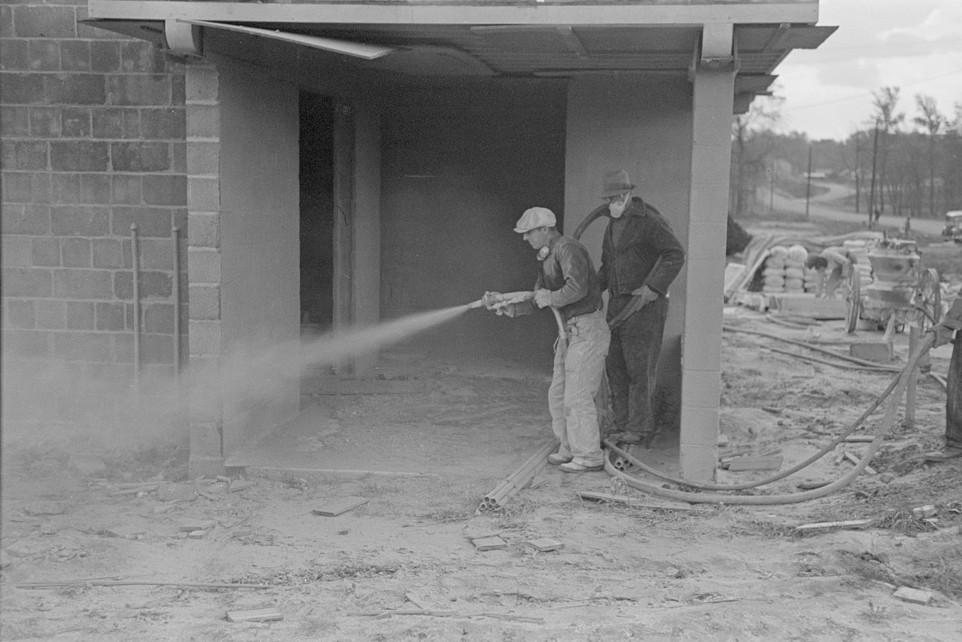 Whitewashing a cinderblock house, Jersey Homesteads, Hightstown, New Jersey Nov. 1936