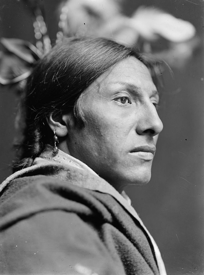 Amos Two Bulls, Sioux head-and-shoulders portrait, right profile. ca. 1900