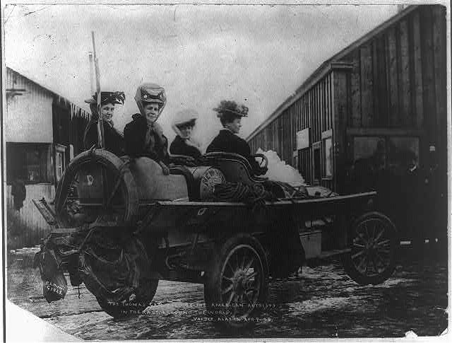 Caption reads The Thomas car used by the Americans in the race arround the world, Valdez, Alaska, Apr 1908 Hunt, P. S. Phinney S, 1866 1917