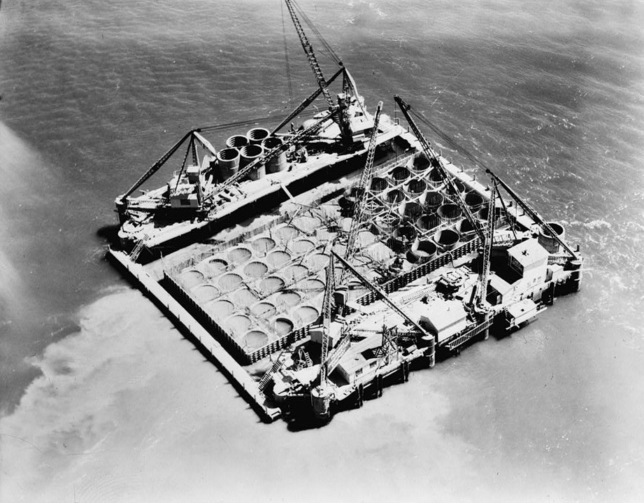 Clyde Sunderland, Photographer May 11, 1934 AERIAL VIEW OF FLOATING CAISSON UNDER CONSTRUCTION. -