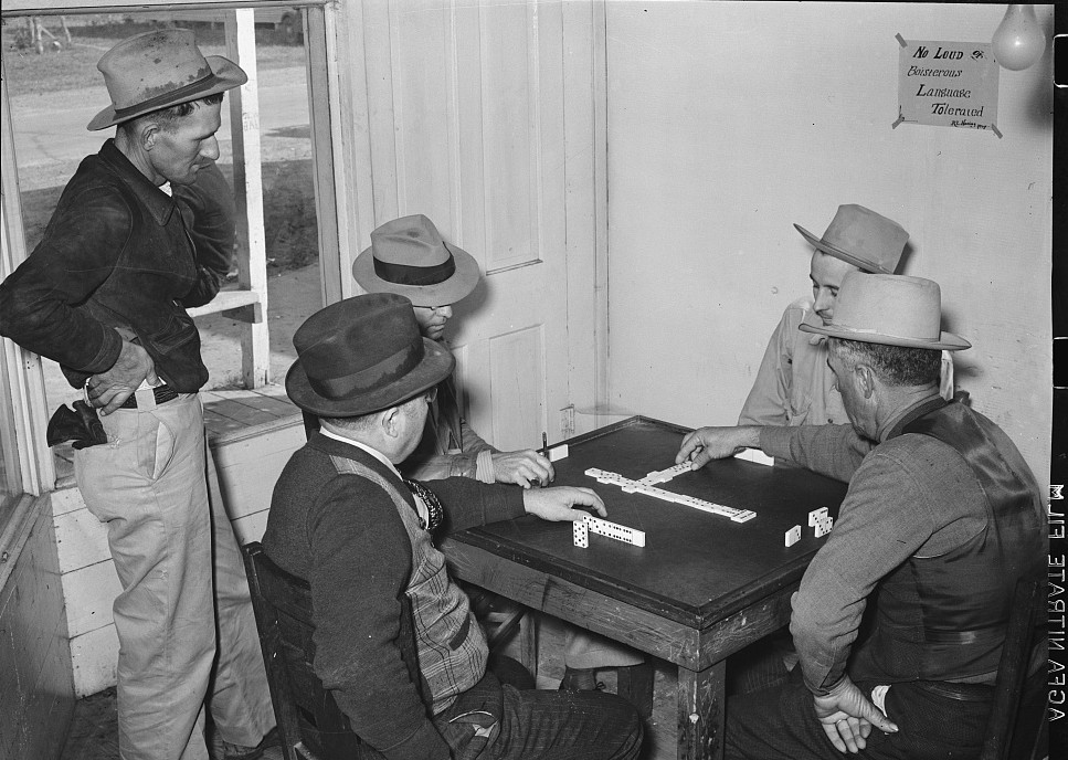 Domino game in beer parlor. Sebastian, Texas Feb. 1939 - Russell Lee