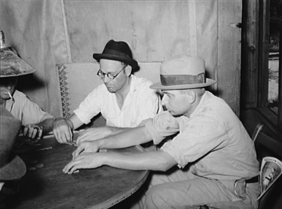 Domino players. Seminole oil field, Oklahoma Aug. 1939 Russell Lee