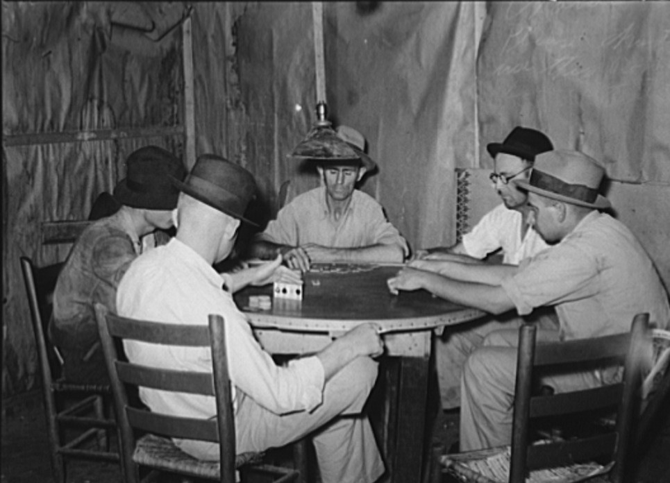 Domino players. Seminole oil field, Oklahoma2 Aug. 1939 Russell Lee