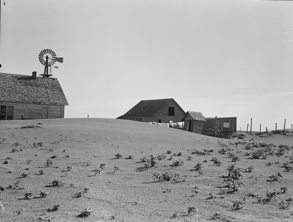 Dust Bowl farm. Coldwater District, north of Dalhart, Texas. This house is occupied; most of the houses in this district have been abandoned2 June 1938