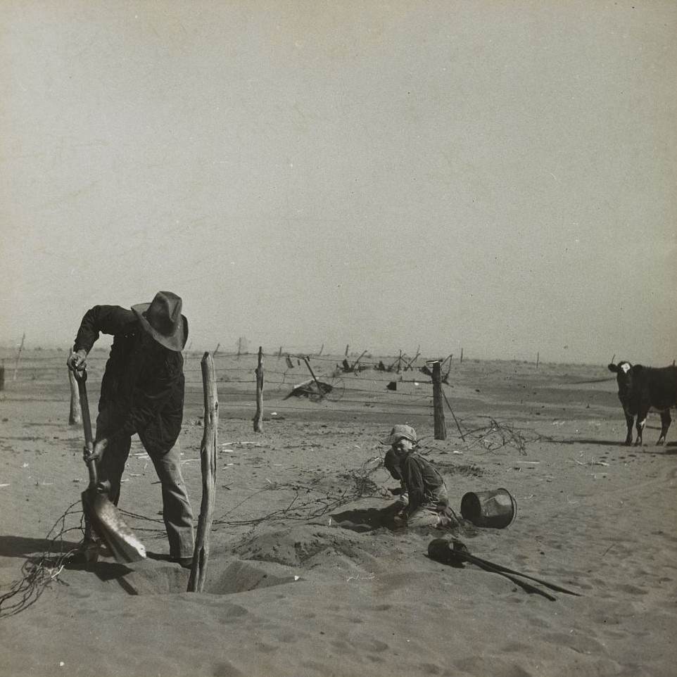Dust bowl farmer raising fence to keep it from being buried under drifting sand. Cimarron County, Oklahoma Arthur Rothstein 1937