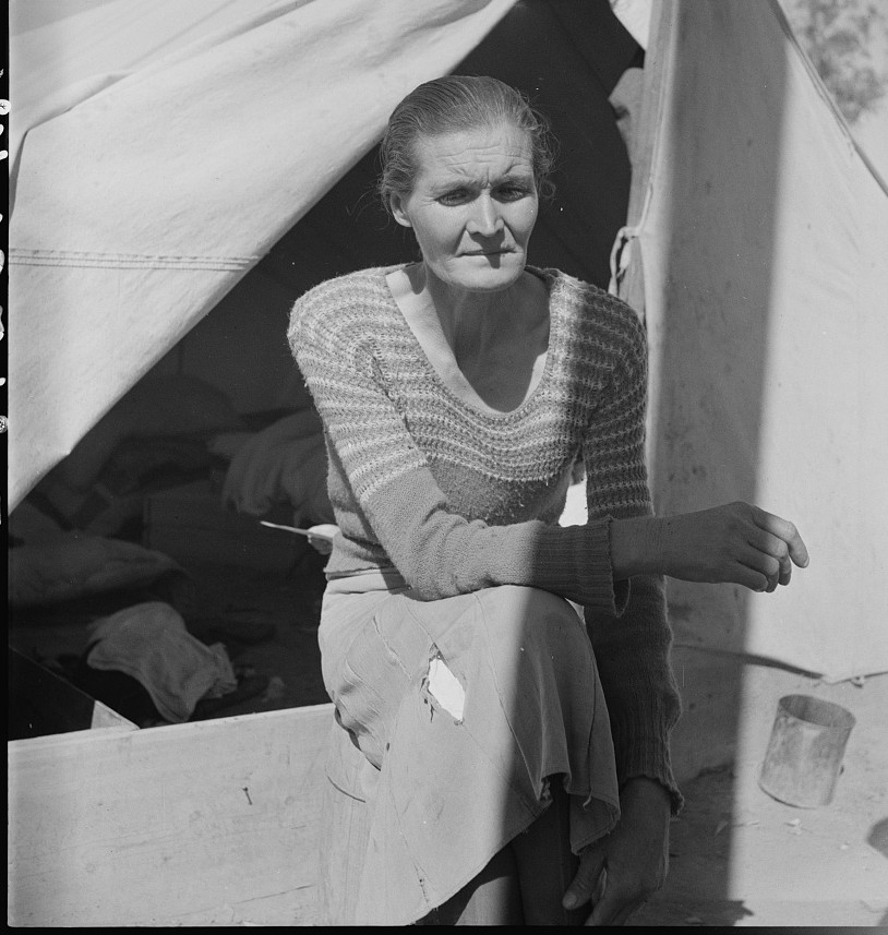 Dust bowl refugee from Chickasaw, Oklahoma. Imperial Valley, California. Black Sunday, 1934, that was the awfullest dust we ever did see