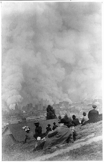 Photograph of people watching fires 1906