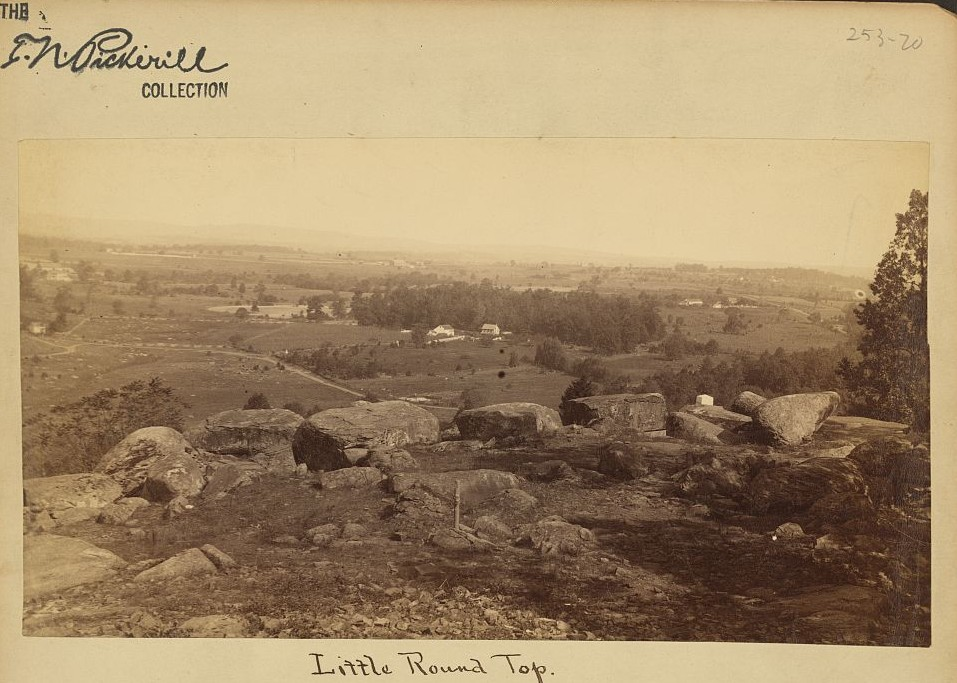 Photograph showing view from summit of Little Round Top, Gettysburg, Pennsylvania, with farms in the distance. ca. 1860