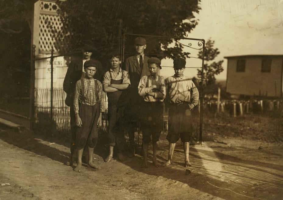 Some of the young workers in Schoolfield Cotton Mills, Danville, Va. The very young would not be photographed