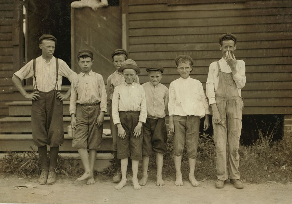 These were all of the small boys I found working at the Suffolk Va. Knitting Mills, the day I was there. One of the smallest boys had been working there for two years. Not many under fourteen