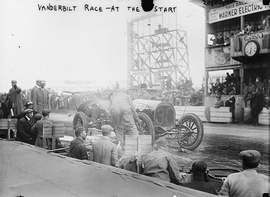 This photograph was taken in 1900 of start of the Vanderbilt Race by Bain News Service