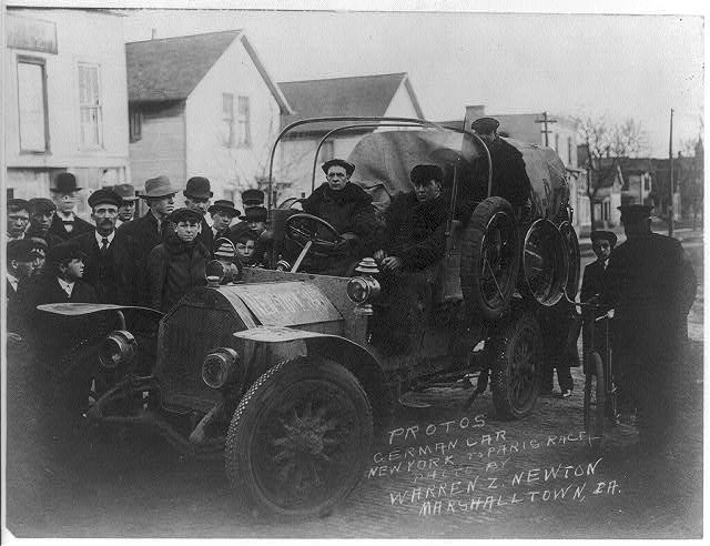 This photograph was taken in 1908 of Protos German car New York to Paris race by Bain News Service