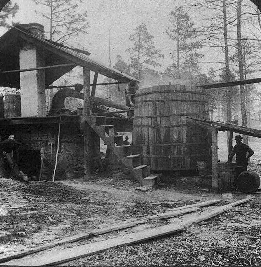 1903 Distilling turpentine from the crude resin in the pine forests of North Carolina