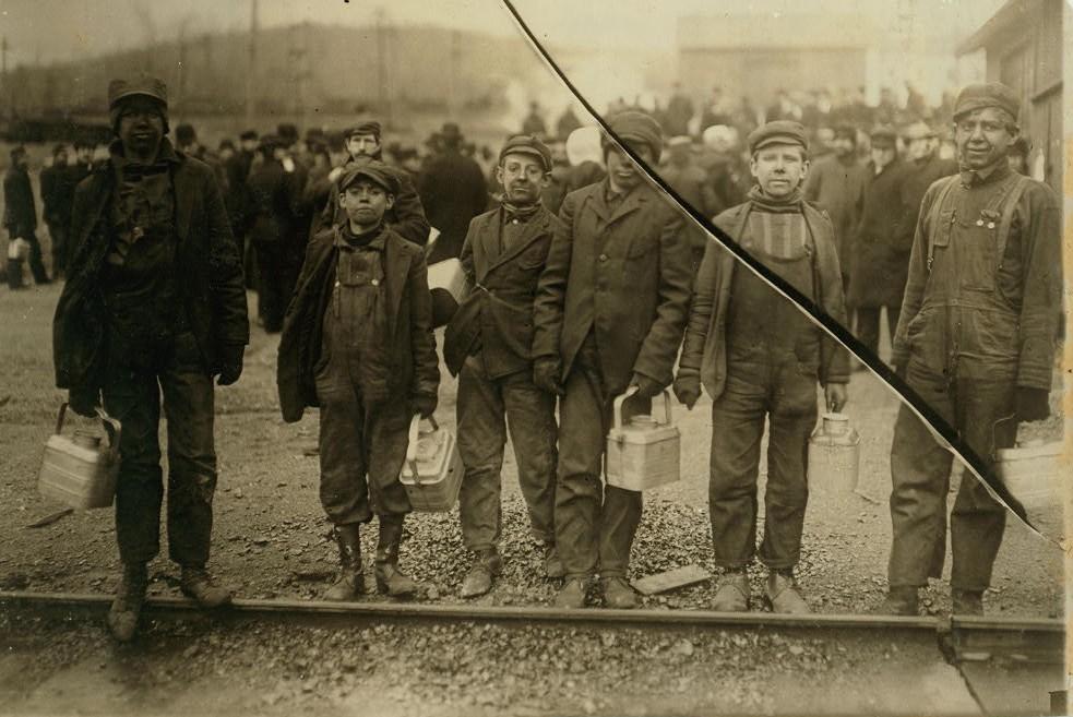 A few of the young breaker boys working in the Bliss breaker of the D.L. & W. near Nanticoke, Pa. Location Nanticoke vicinity, Pennsylvania.