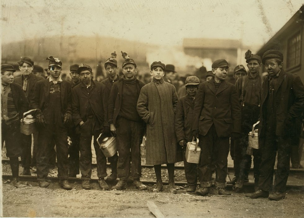 All these, including boys in middle and left end of photo, work underground in the Bliss Colliery of the D.L.W., near Nanticoke, Pa.
